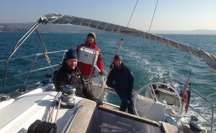 Clients enjoying boat tuition with Olsen Marine
